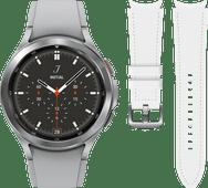 Samsung Galaxy Watch4 Classic 42 mm Argent + Samsung Bracelet Cuir Blanc S/M 20 mm