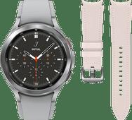 Samsung Galaxy Watch4 Classic 42 mm Argent + Samsung Bracelet Cuir Rose S/M 20 mm