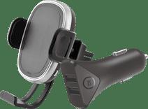 Azuri Telefoonhouder met Draadloos Opladen + BlueBuilt Autolader 2 Usb