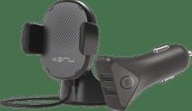 Kenu Airbase Universele Telefoonhouder met Draadloos Opladen + BlueBuilt Autolader 2 Usb