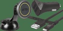 Lampa Magneto Fin Universele Telefoonhouder + BlueBuilt Autolader 2 Usb Lightning kabel