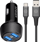 Anker Quick Charge Autolader met 2 Usb Poorten 18W + Usb C Kabel 1,5m Nylon Zwart