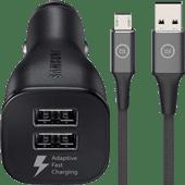Samsung Adaptive Fast Charging Autolader met 2 Usb Poorten 15W + Micro Usb Kabel 1,5m Nylo