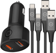 BlueBuilt Quick Charge Autolader met 2 Usb Poorten 18W +  2 Usb C Kabels 1,5m Nylon Zwart