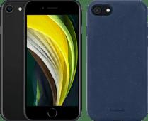 Refurbished iPhone SE 2 64GB Zwart + BlueBuilt Biologisch Afbreekbare Back Cover Blauw