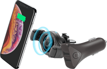 Cellularline Universele Telefoonhouder met Draadloos opladen + BlueBuilt Autolader 2 Usb