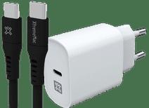 XtremeMac Chargeur Power Delivery 20 W Blanc + Câble USB-C 1,5m Matière Synthétique Noir