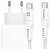Apple Power Delivery Oplader 20W + XtremeMac Usb C Kabel 2,5m Nylon Wit