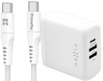 Fixed Power Delivery Oplader met 3 Usb Poorten 60W + XtremeMac Usb C Kabel 2,5m Nylon Wit