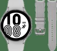 Samsung Galaxy Watch4 44 mm Zilver + Samsung Leren Bandje Grijs M/L 20mm