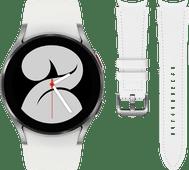 Samsung Galaxy Watch4 40 mm Zilver + Samsung Leren Bandje Wit S/M 20mm