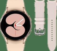 Samsung Galaxy Watch4 40 mm Roségoud + Samsung Leren Bandje Roze S/M 20mm