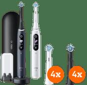 Oral-B iO - 8n Wit en Zwart Duo Pack + iO Ultimate Clean opzetborstels (8 stuks)