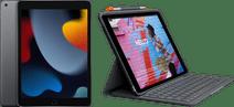 Apple iPad (2021) 10.2 inch 256GB Wifi Space Gray + Logitech Toetsenbord Hoes AZERTY Zwart