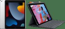 Apple iPad (2021) 10.2 inch 256GB Wifi + 4G Zilver +Logitech Toetsenbord Hoes AZERTY Zwart