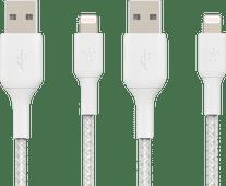 Belkin Usb A naar Lightning Kabel 1m Nylon Wit Duo Pack Lightning kabel