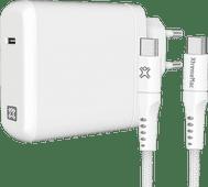 XtremeMac Power Delivery Oplader 45W Wit + Usb C Kabel Nylon 2,5m Zwart