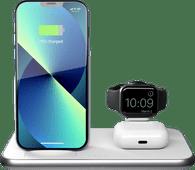 ZENS 3-in-1 Draadloze Oplader 10W met Standaard en Apple Watch Oplader Wit