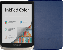 PocketBook InkPad Color Zilver + PocketBook Shell Book Case Blauw