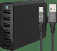 Anker Oplader met 6 Usb Poorten 12W + BlueBuilt Micro Usb Kabel 1,5m Nylon Zwart Apple iPhone opladers